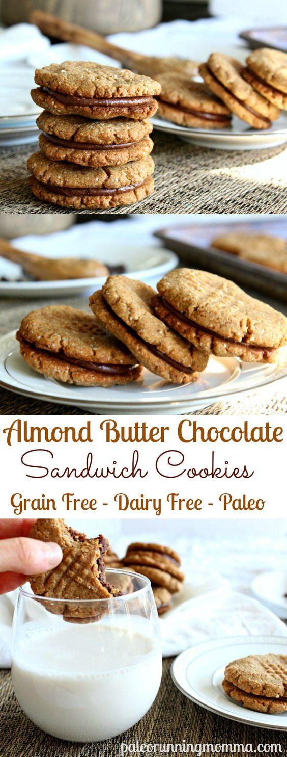 almond butter chocolate sandwich cookies pin