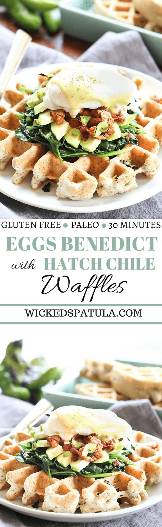 eggs benedict with hatch chile waffles pin