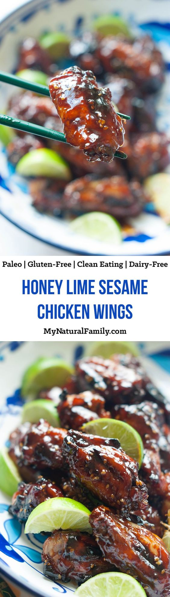 paleo honey lime sesame chicken wings pin