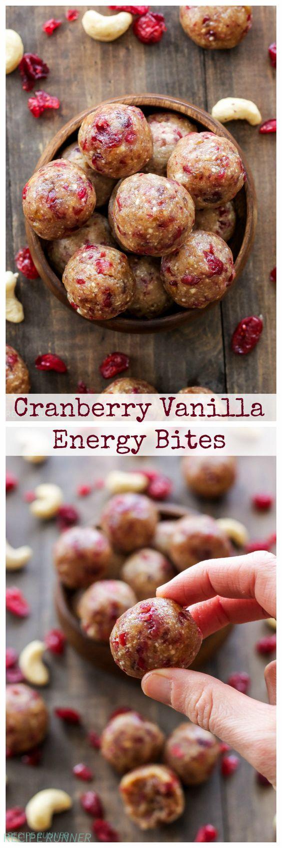 cranberry vanilla energy bites - vegan, gluten free