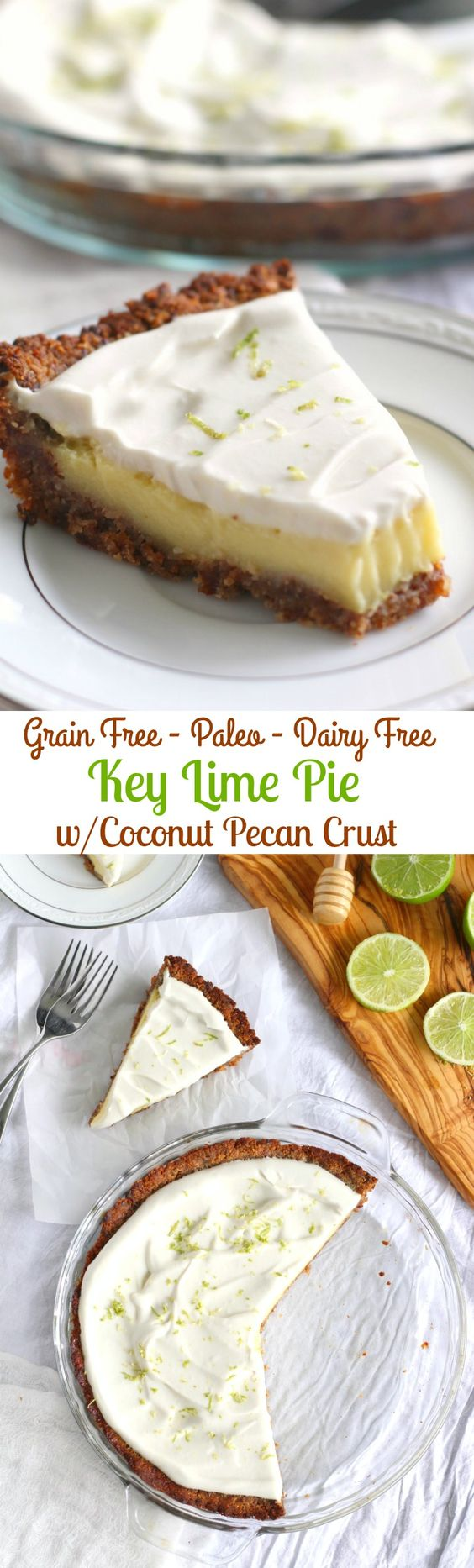 key lime pie with coconut pecan crust - vegan, gluten free