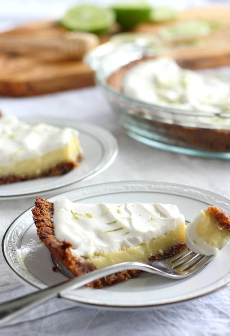 key lime pie with coconut pecan crust