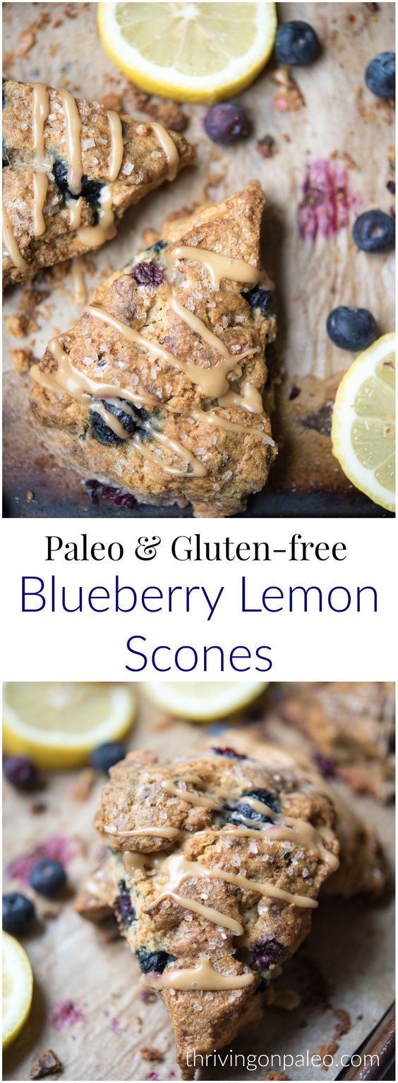blueberry lemon scones - paleo, gluten free
