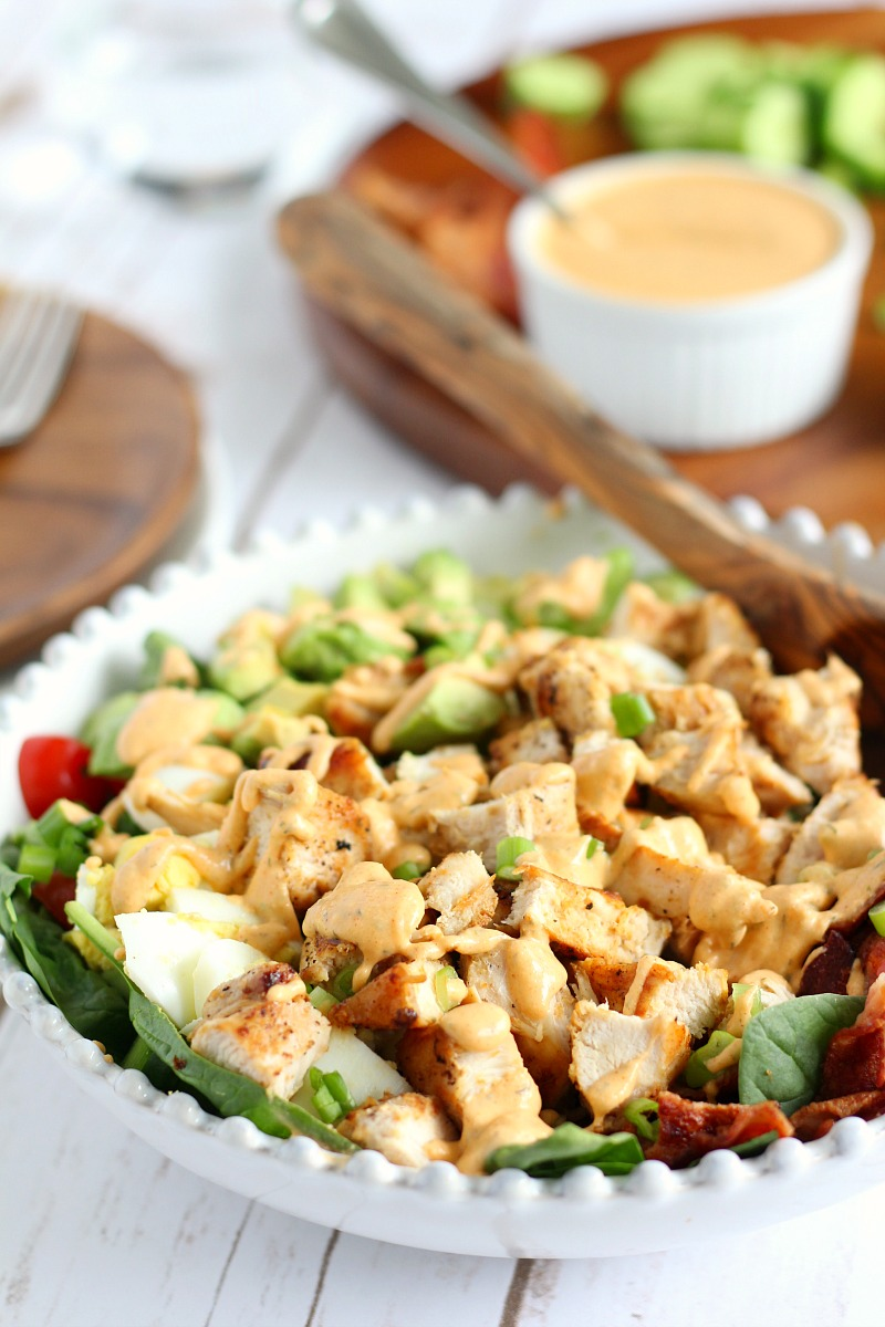 chicken cobb salad with buffalo ranch dressing