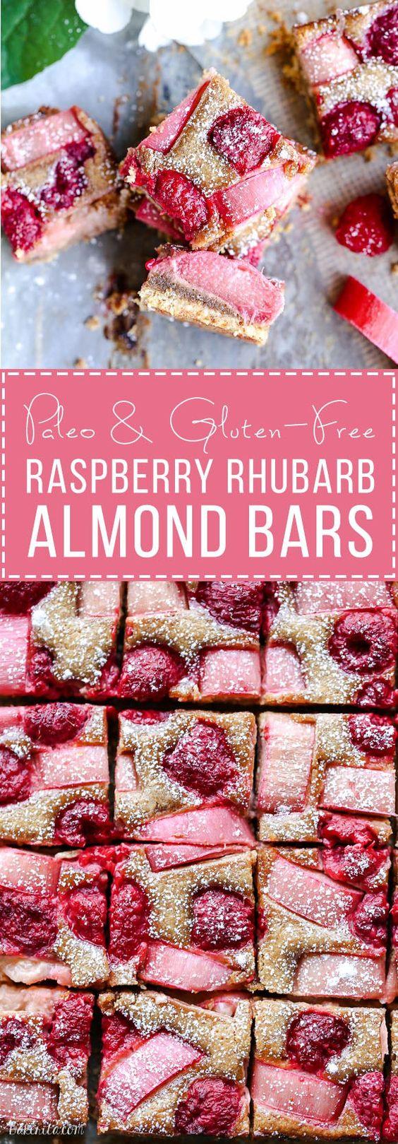 raspberry rhubarb almond bars - paleo, gluten free