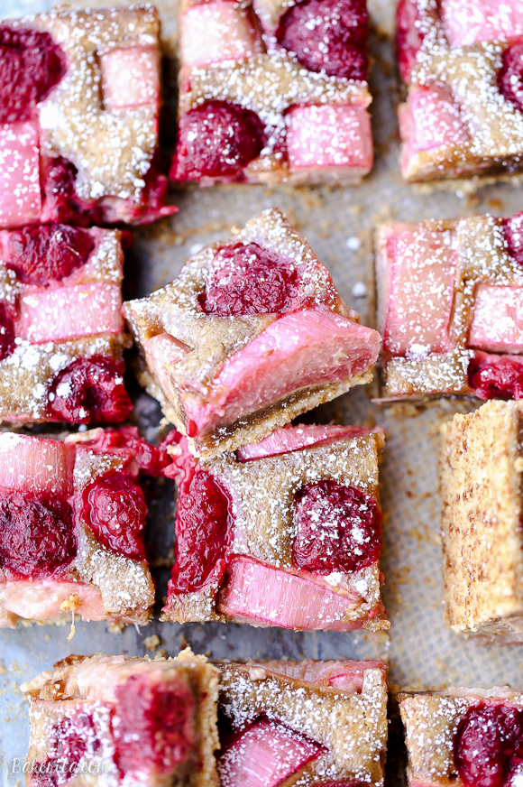 raspberry rhubarb almond bars