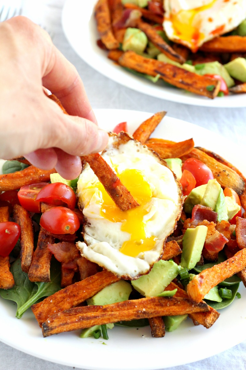 smothered breakfast sweet potato fries