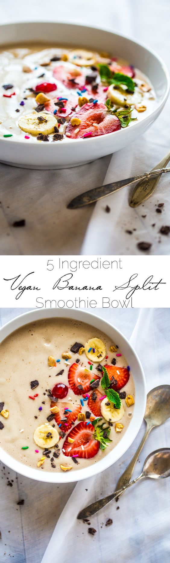vegan banana split smoothie bowl - paleo, gluten free