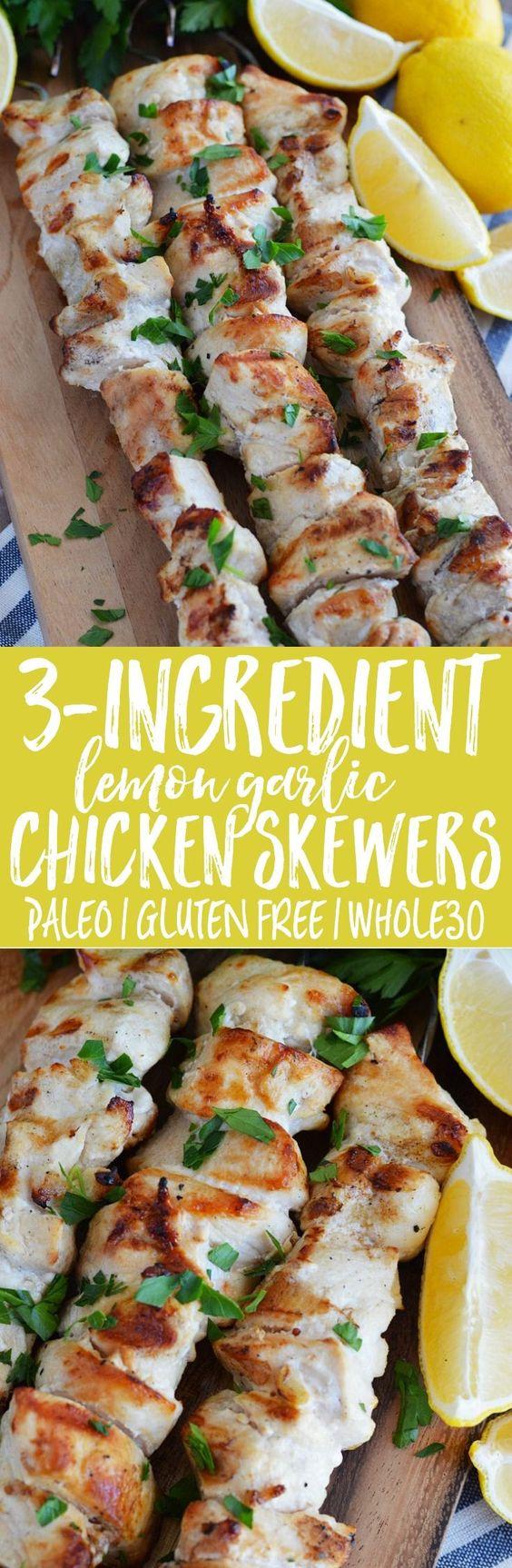 3-ingredient lemon garlic chicken skewers - paleo, gluten free, whole30