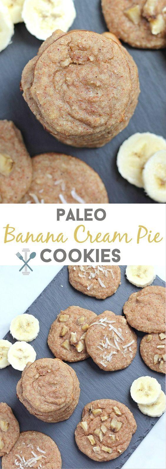 banana cream pie cookies - paleo, vegan, gluten free