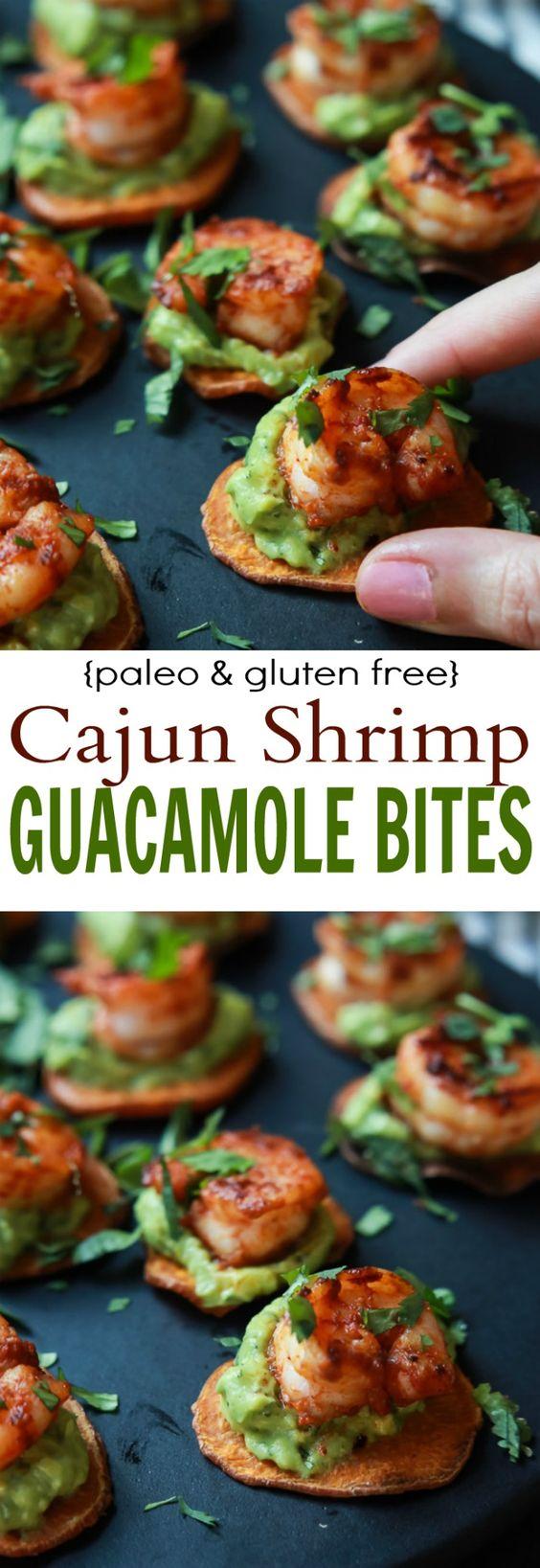 cajun shrimp guacamole bites - paleo, gluten free