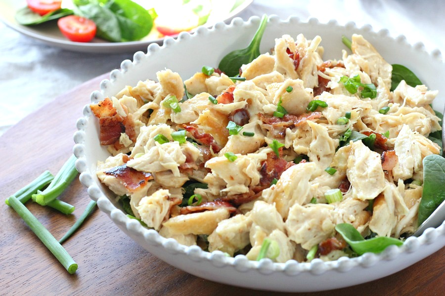 chicken salad with bacon and scallion