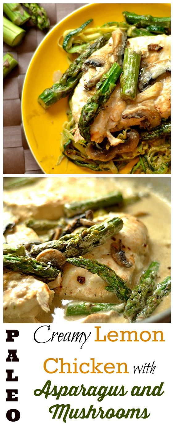 creamy lemon chicken with asparagus and mushrooms - paleo, gluten free