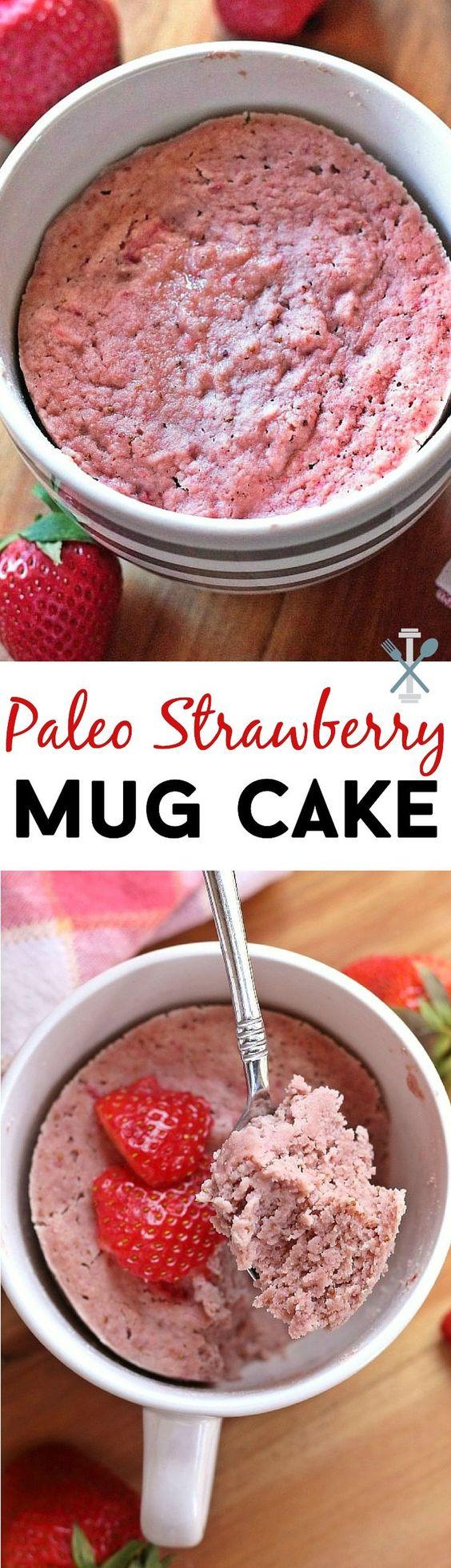 stawberry mug cake - paleo, vegan, gluten free