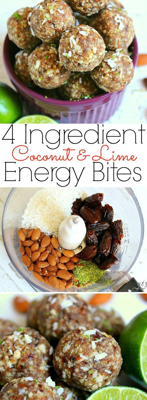 4 ingredient coconut & lime energy bites - paleo, vegan