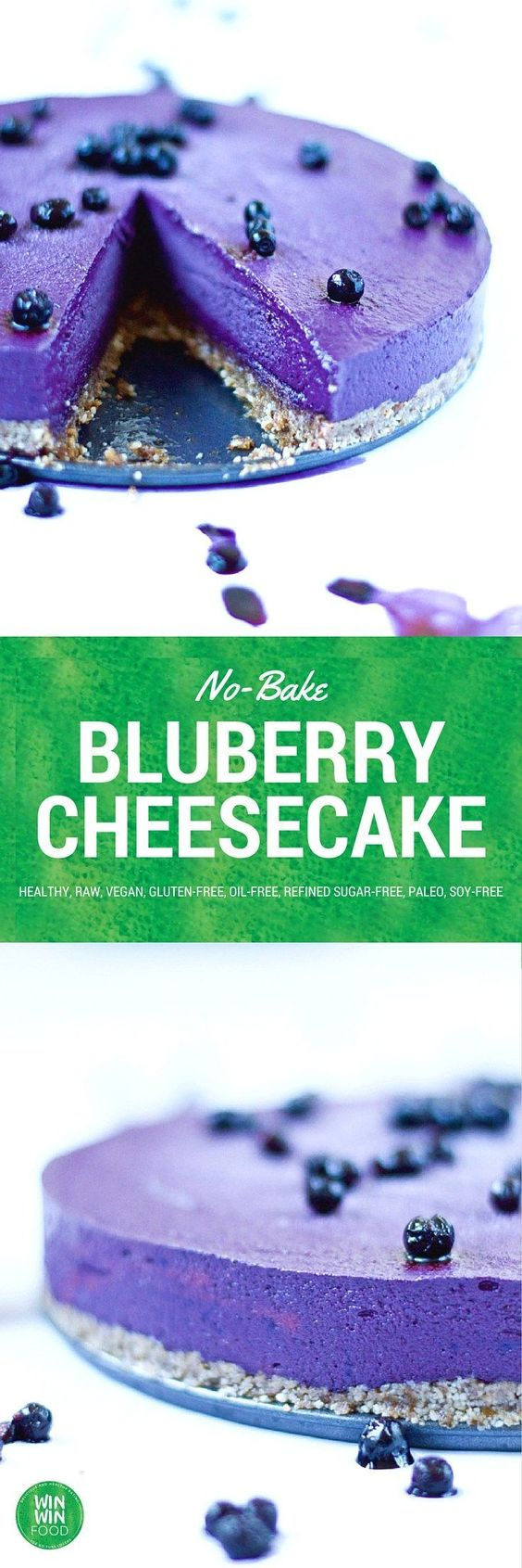 no-bake blueberry cheesecake - paleo, vegan, gluten free