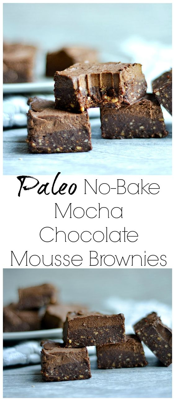 no-bake mocha chocolate mousse brownies - paleo, vegan, gluten free