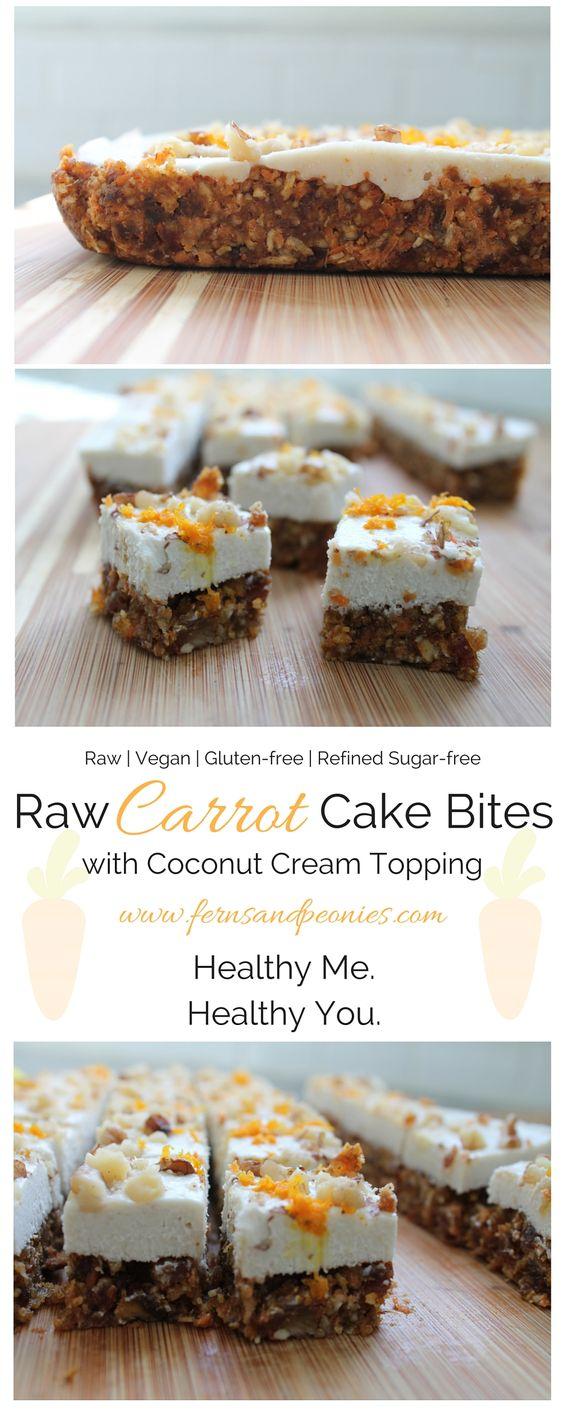 raw carrot cake bites with coconut cream topping - paleo, vegan, gluten free