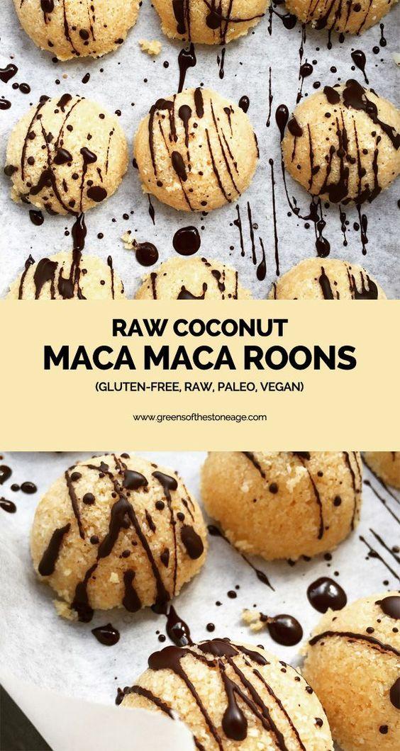 raw coconut maca maca roons - paleo, vegan, gluten free