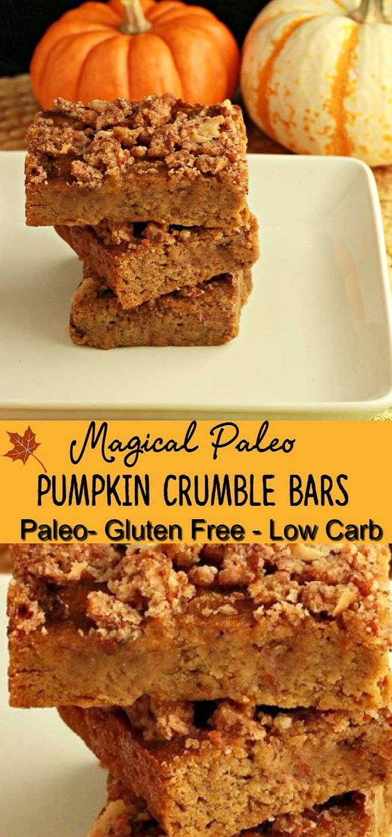 Magical Paleo Pumpkin Crumble Bars (Vegetarian, Gluten Free) - Natural ...