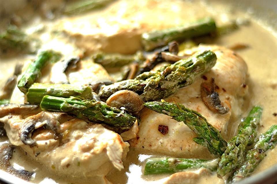 Creamy Lemon Chicken with Asparagus and Mushrooms (Paleo ...